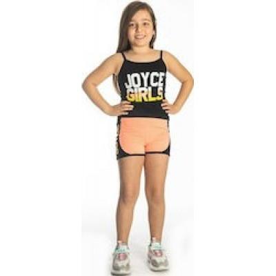 Σετ κορίτσι μακό με σορτσάκι JOYCE 211546 μαύρο/πορτοκαλί