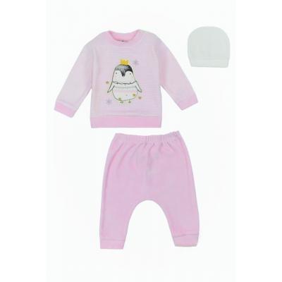 Σετ 3τμχ βελουτέ φορμάκι και σκουφάκι για κορίτσι Mini by Ebita & Hashtag ροζ Mi-0322