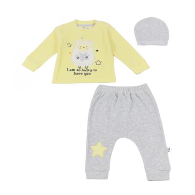 Σετ 3τμχ βελουτέ φορμάκι και σκουφάκι για κορίτσι Mini by Ebita & Hashtag κίτρινο Mi-0323