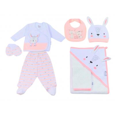 Σετ 7τμχ για κορίτσι Mini by EBITA & HASHTAG λευκό/ροζ mi-036