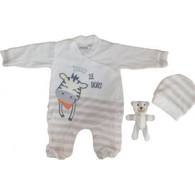 Σετ 3τμχ βελουτέ φορμάκι, σκουφάκι και αρκουδακι για αγόρι Mini by Ebita & Hashtag εκρού mi-216