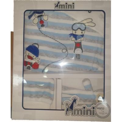 Σετ 3τμχ βελουτέ φορμάκι  για αγόρι  Mini by Ebita & Hashtag mi-211 σιελ-γκρί