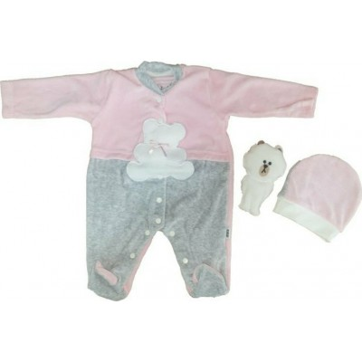 Σετ 3τμχ βελουτέ φορμάκι, σκουφάκι και αρκουδάκι  για κορίτσι Mini by Ebita & Hashtag ροζ mi-313