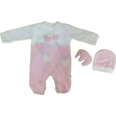Σετ 3τμχ βελουτέ φορμάκι και σκουφάκι και αρκουδάκι για κορίτσι Mini by Ebita & Hashtag ροζ mi-310