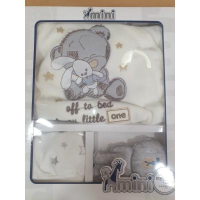 Σετ 3τμχ βελουτέ φορμάκι, σκουφάκι και αρκουδάκι για αγόρι  Mini by Ebita & Hashtag mi-215
