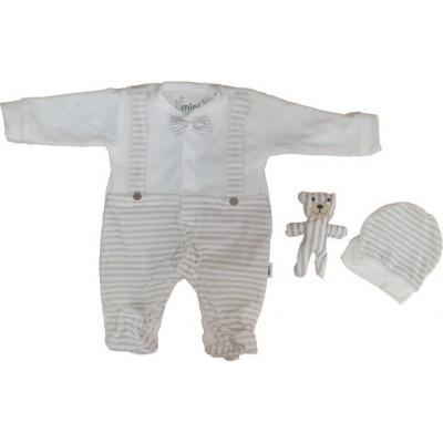 Σετ 3τμχ βελουτέ φορμάκι, σκουφάκι και αργουδάκι για αγόρι Mini by Ebita & Hashtag εκρού mi-214
