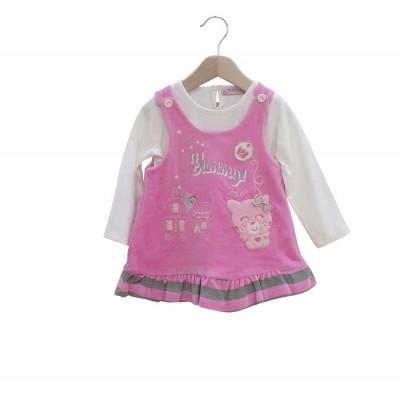 Σετ φόρεμα βελουτέ με μπλούζα μακό ΕΒΙΤΑ 187522 ροζ
