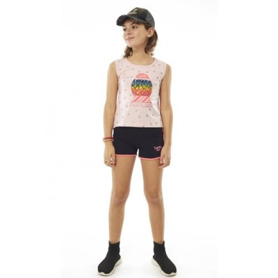 Σετ κορίτσι  μπλούζα με σορτς EBITA 214097 ροζ/μαύρο