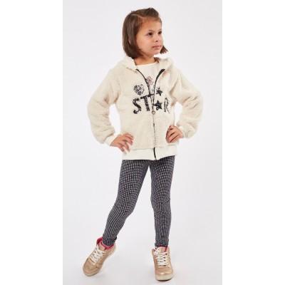 Σετ 3τμχ μπλούζα, κολάν και ζακέτα φλίς για κορίτσι ΕΒΙΤΑ 215203 λευκό/μαύρο