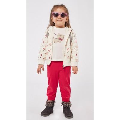 Σετ 3τχ φόρμα φούτερ για κορίτσι ΕΒΙΤΑ 215518 εκρού/φούξια
