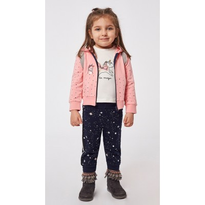 Σετ 3τχ φόρμα φούτερ για κορίτσι ΕΒΙΤΑ 215519 ροζ/μαύρο