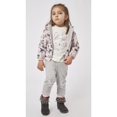 Σετ 3τμχ φόρμα κορίτσι με ζακέτα ΕΒΙΤΑ 215540 ρόζ/γκρί