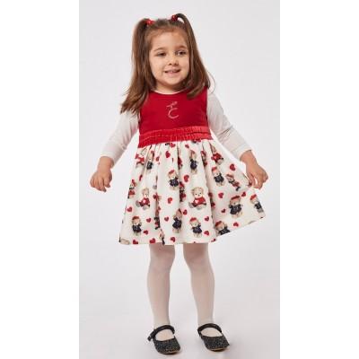 Φόρεμα ΕΒΙΤΑ 215536 κόκκινο-εκρού