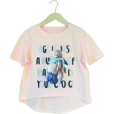 Μπλούζα κορίτσι κοντό μανίκι Εβίτα 214117 ροζ