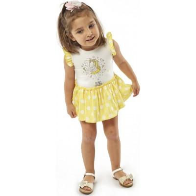 Φόρεμα ΕΒΙΤΑ 214520 λευκό κίτρινο