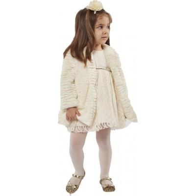 Σετ φόρεμα με γούνα ΕΒΙΤΑ 215535 εκρού