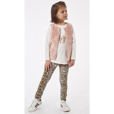 Σετ 3τμχ μπλούζα, κολάν και αμάνικο γουνάκι ΕΒΙΤΑ 215264 ροζ/τιγρέ