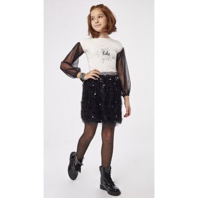 Σετ μπλούζα με φούστα ΕΒΙΤΑ 203075 λευκό/μαύρο