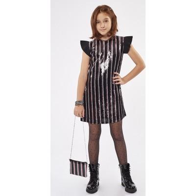 Φόρεμα ΕΒΙΤΑ με τσαντάκι 215032 μαύρο