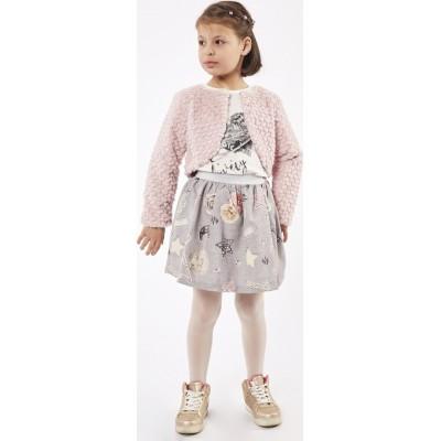 Σετ 3τμχ μπλούζα, φούστα και γουνάκι μπολερό ΕΒΙΤΑ 215279 σομόν/γκρί