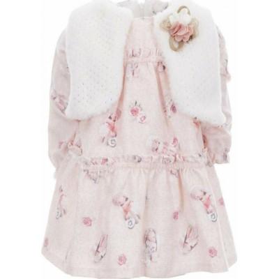 Σετ φόρεμα με αμάνικο μπολερό γουνάκι ΕΒΙΤΑ 215533 λευκό/ρόζ