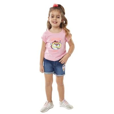 Σετ  μπλούζα με τζήν σορτσάκι ΕΒΙΤΑ 214237 ροζ/μπλε