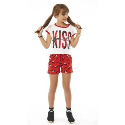 Σετ κορίτσι  μπλούζα με σορτς EBITA 214070 λευκό/κόκκκινο