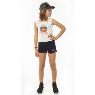 Σετ κορίτσι  μπλούζα με σορτς EBITA 214097 λευκό/μαύρο