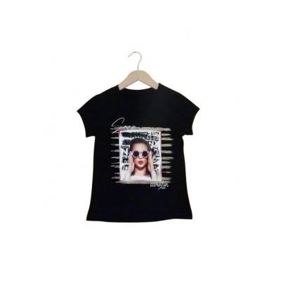 Μπλούζα κορίτσι κοντό μανίκι Εβίτα 214116 μαύρο