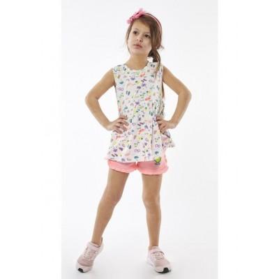 Σετ κορίτσι  μπλούζα με σορτς EBITA 214212 λευκό/ροζ